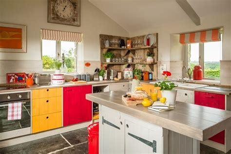 red  yellow kitchens conducive  cooking