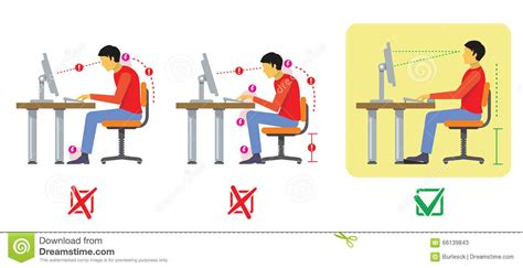 bonne position bureau correct and bad spine sitting posture vector diagram in