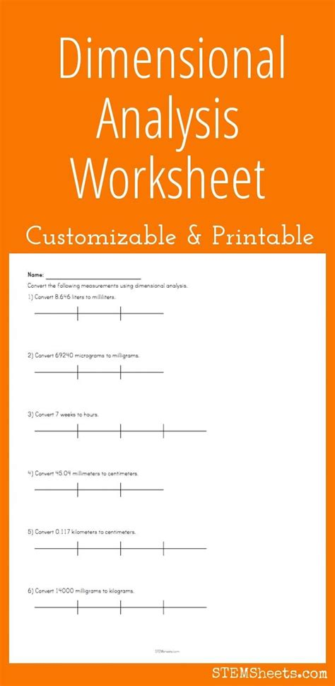 dimensional analysis worksheet customize and print