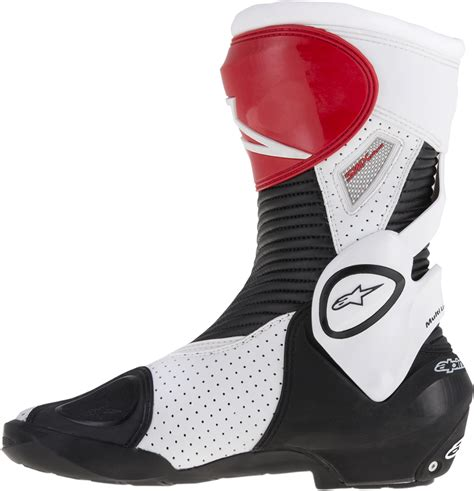 motorcycle street racing boots mens alpinestars smx plus textile black red white
