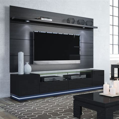 Tv Paneel Wand by Vanderbilt Black Gloss Black Matte Tv Stand Cabrini 2