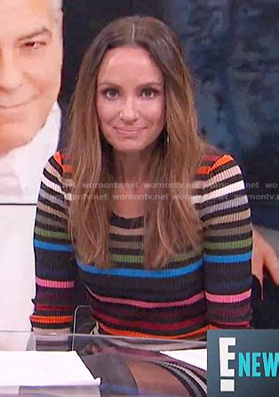 WornOnTV: Catt's rainbow striped sweater dress on E! News ...