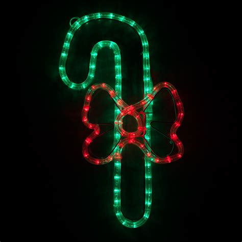 outdoor decoration  led candy cane   bow red