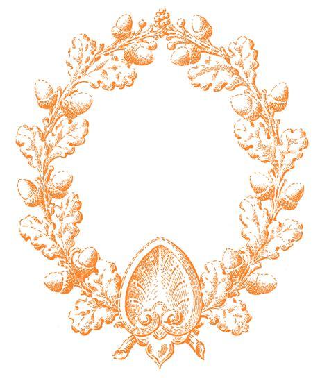 vintage fall clip art oak leaf  acorn wreath