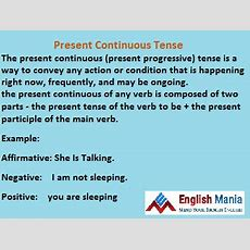 Basic English Present Continuous Tense & It's Application