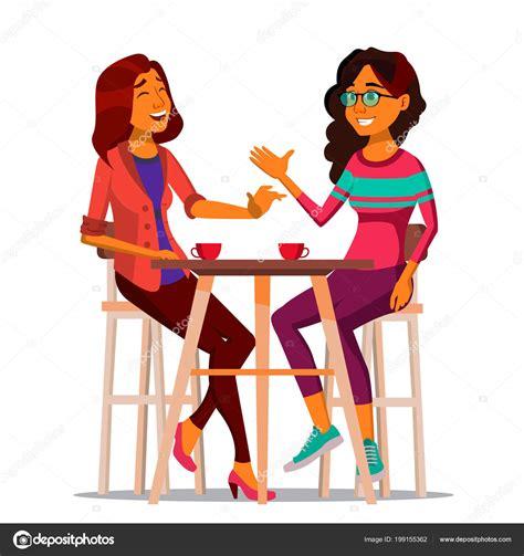 Two Woman Friends Drinking Coffee Vector Best Friends In