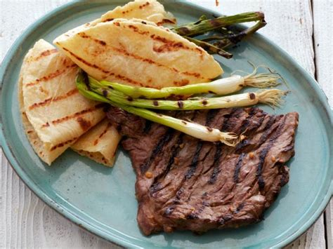 korean style marinated skirt steak  grilled scallions