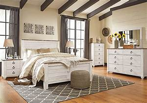 Willowton whitewash queen panel set for Ashley furniture 5 pc bedroom sets