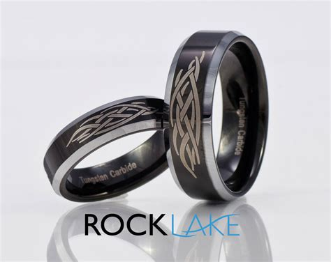 Tungsten Carbide Matching Wedding Band Set Black Rings 8mm