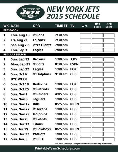 york jets  schedule printable version  http