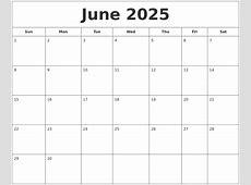 June 2025 Printable Calendar