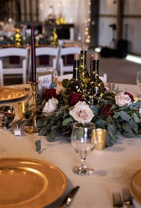 wedding burgundy grey gold centerpieces deep centerpiece table decorations greenery decoration flowers touch decor floral gorgeous bouquet dusty eucalyptus moody