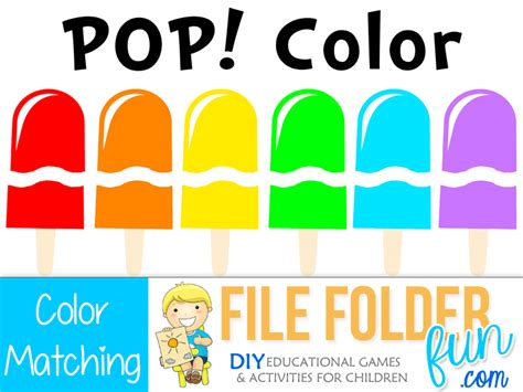 color matching activities for preschool popsicle color matching file folder 941