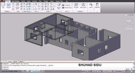 autocad  house modeling tutorial   home design