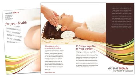 tri fold brochure template  massage chiropractor