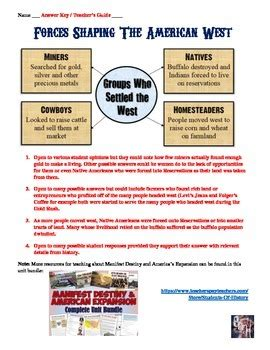 manifest destiny and american expansion worksheet by students of history