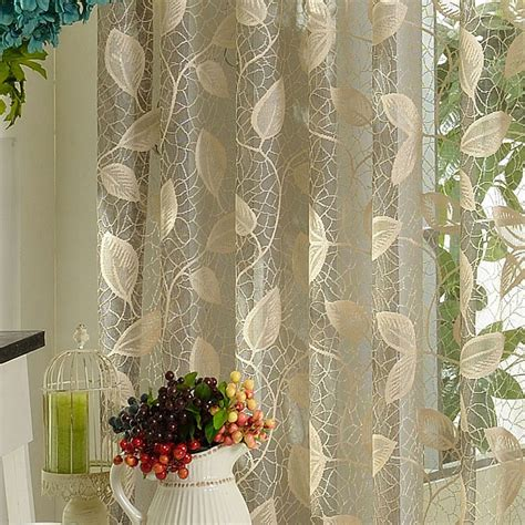 thick light grey color leaf pattern sheer curtains