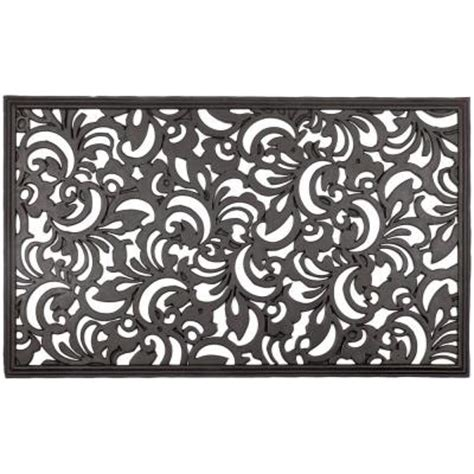 Rubber Scroll Doormat by Entryways Scroll Flowers 18 In X 30 In Recycled Rubber