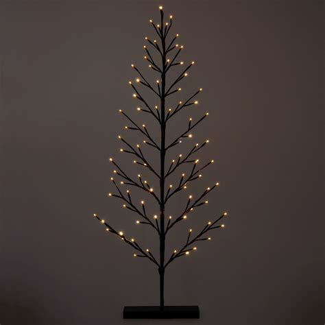 120cm flat twig tree warm white led lights christmas