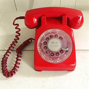 Vintage Rotary Desk Phone Cherry Red 1960 U0026 39 S Working Bell