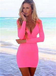 Neon Pink Long Sleeve V Neck Bodycon Dress Dress