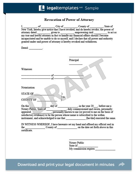 Free Consent To Change Attorney Form by Create A Revocation Of Power Of Attorney Legaltemplates
