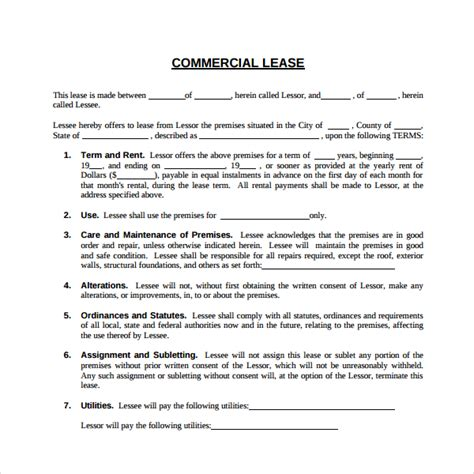 Commercial Building Lease Agreement Template by Sle Commercial Lease Agreement 6 Free Documents