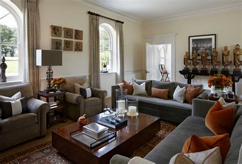 orange and brown curtains grey and brown living room ideas for your stylish living