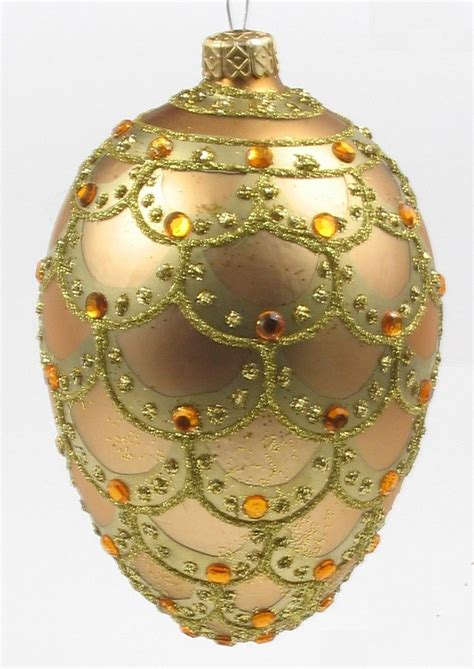 faberge egg style christmas ornament hand blown  hand