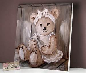Tableau Chambre Fille : tableau ourson fille lin pour chambre de petite fille vente tableau nounours pour la dco d 39 enfants ~ Teatrodelosmanantiales.com Idées de Décoration