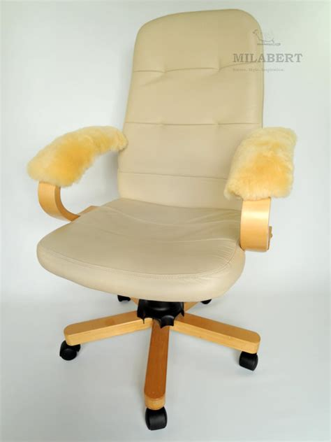 genuine sheepskin armrest cover pad for office chair