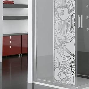 stickers muraux pour portes de douche fleur d39orchidee With porte de douche coulissante avec stickers pour carreaux salle de bain