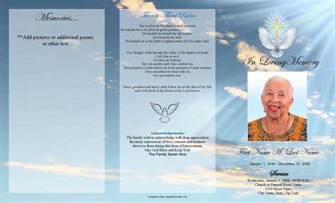 dove cross trifold funeral program template elegant