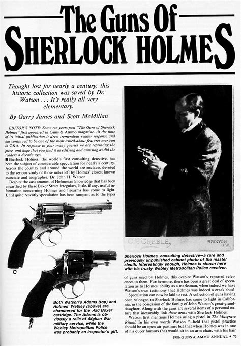 "Dr Watson's ""Service Revolver"" in Sherlock Holmes Books"