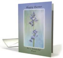 happy easter   priest purple hyacinth flowers card