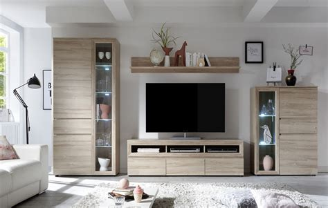 Wohnzimmer Wohnwand Weiß by Wohnwand Wohnzimmer Set Quot Andalusien Quot 4 Tlg Grandson Oak
