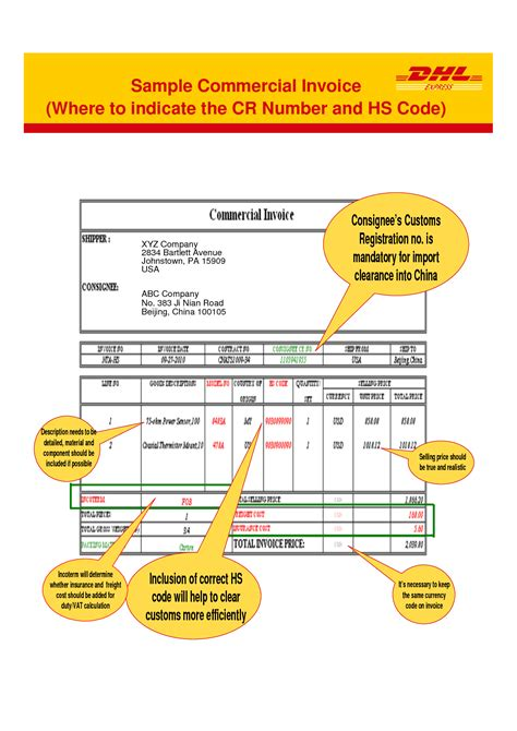 dhl commercial invoice template invoice