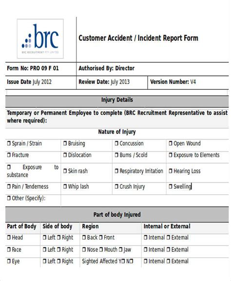 incident report templates  word  premium
