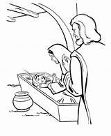 Jesus Coloring Born Bible Play sketch template