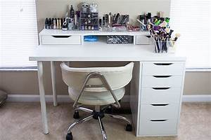 Table De Maquillage Ikea : white ikea vanity makeup table with alex drawer and linnmon table top desk office gaming ~ Nature-et-papiers.com Idées de Décoration