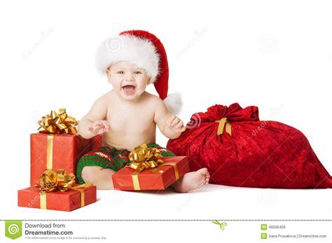 christmas baby kids child present gift box and santa bag stock photo image 46505456