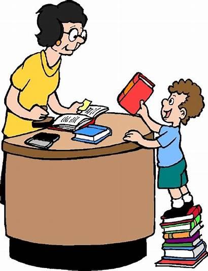 Library Clipart Books Return Librarian Check Teachers