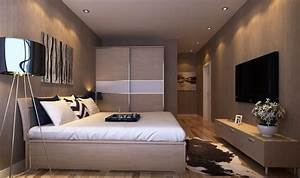 Master bedroom interior design with TV wall and wardrobe
