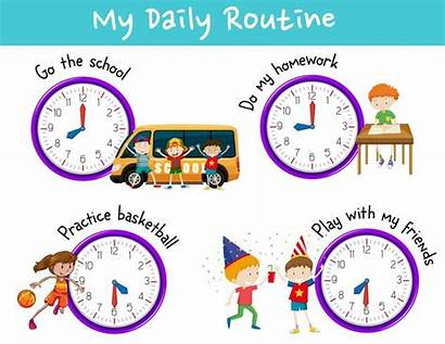 Routine Daily Clock Activities Vector Activity Illustration