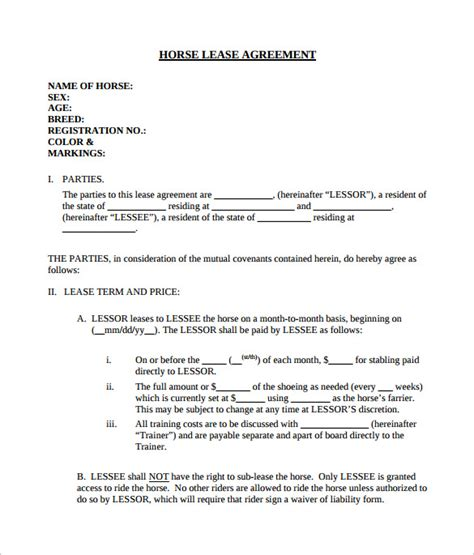 horse lease agreement    documents