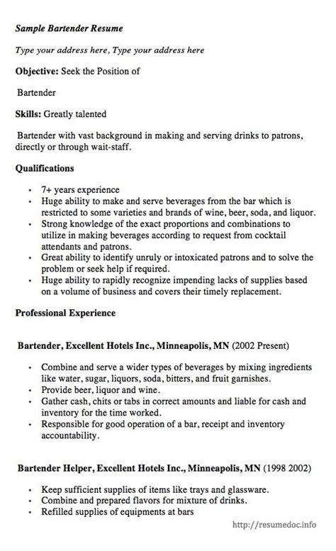 21196 free bartender resume templates here comes another free sle bartender resume exle