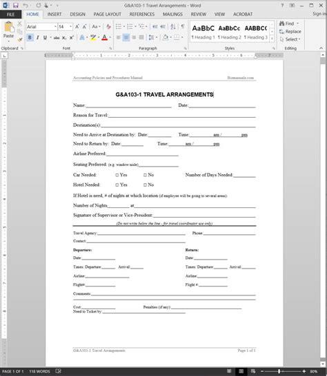 travel arrangements request template form template