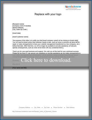sample letter  closing  business lovetoknow
