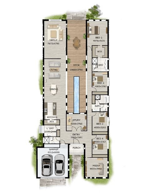 Floor Plan Friday: Pool in the middle & narrow block
