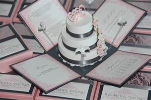 Jinky39s crafts designs pink and gray modern wedding for Pop up box wedding invitations